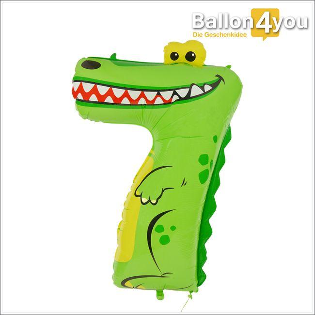 Zahlenballon Krokodil 7  Krokodile sind kräftig und gefährlich, wenn man sie reizt. Dieses hier zeigt seine Zähne aber nur aus Freude, denn ein Kind feiert seinen 7. Geburtstag. Da will es unbedingt als tolle Geschenkidee mit dabei sein. Die heliumgefüllte Überraschung stellt einen Ballongruß der besonderen Art dar. Unsere Zahlenballons lassen sich beliebig miteinander kombinieren.