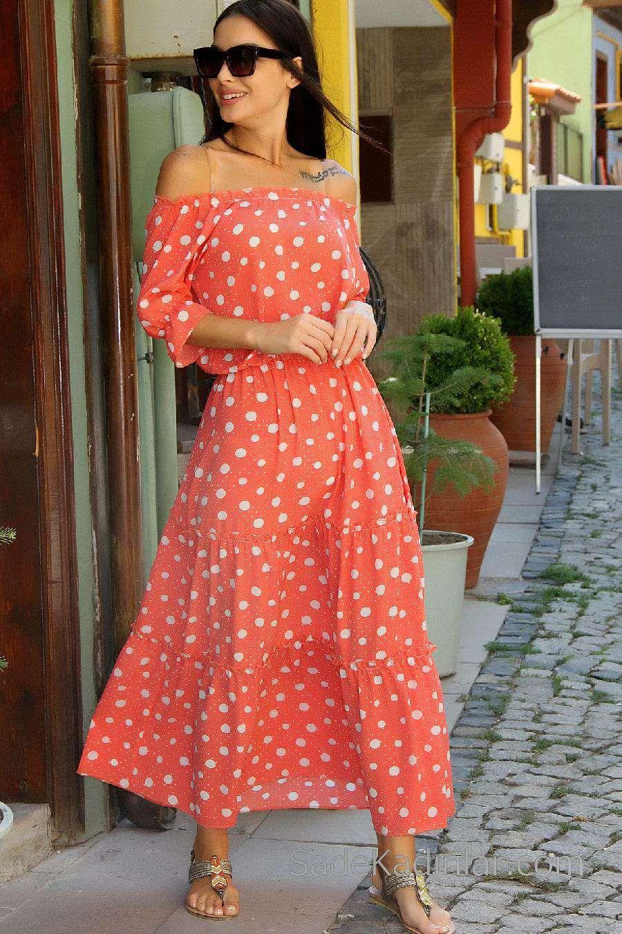 2020 Gunluk Elbise Modelleri Turuncu Uzun Omzu Acik Puantiyeli Elbise Modelleri Elbise Puantiyeli Elbise