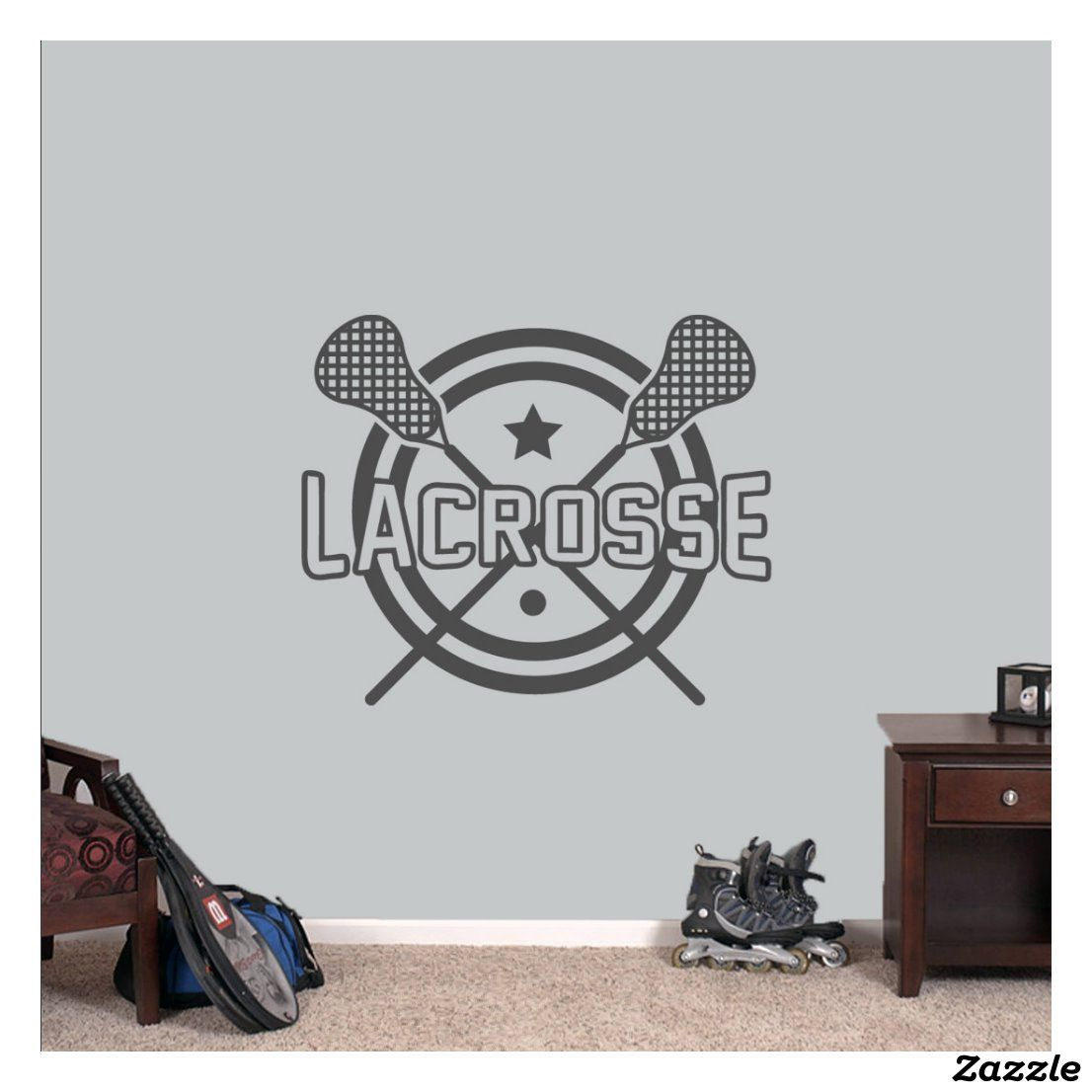 Large Lacrosse Wall Decal Zazzle Com In 2020 Custom Wall Decal Wall Decals Lacrosse Room [ 1106 x 1106 Pixel ]
