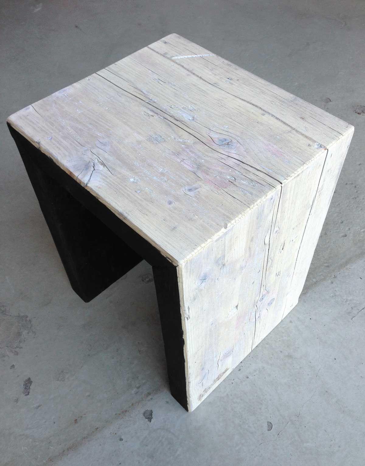 Sehr Beistellhocker, #7, 100% Holz, weiß und schwarz gebeizt mit  CE53