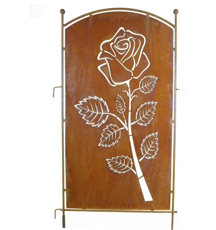 Metall Sichtschutz Rostig Mit Rosen Motiv 70cm X 140 Cm Mit