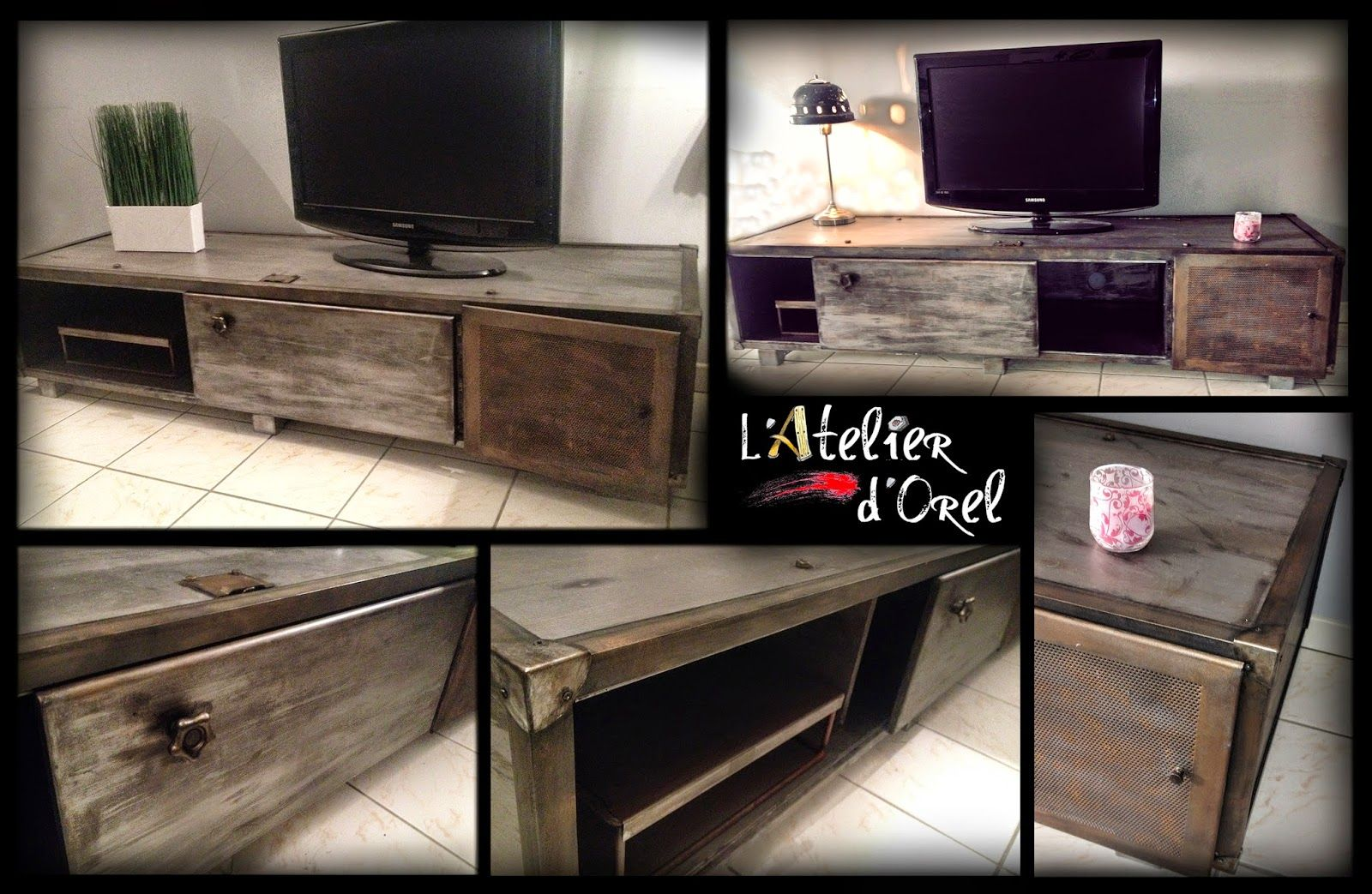 L Atelier D Orel Meuble Tv Industriel Upcycling Pinterest  # Meuble Bas En Palette