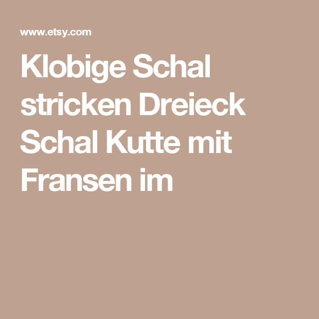 Klobige Schal, stricken Dreieck Schal Kutte mit Fransen im Wald Grün ...