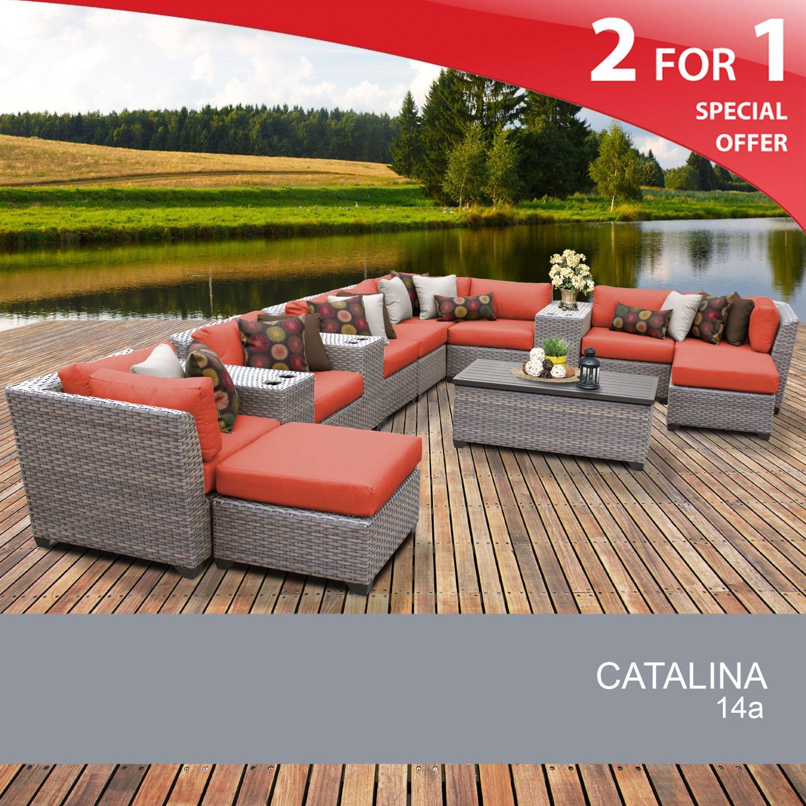 Catalina 45 Piece Outdoor Wicker Patio Furniture Set 45a. FULLY ...