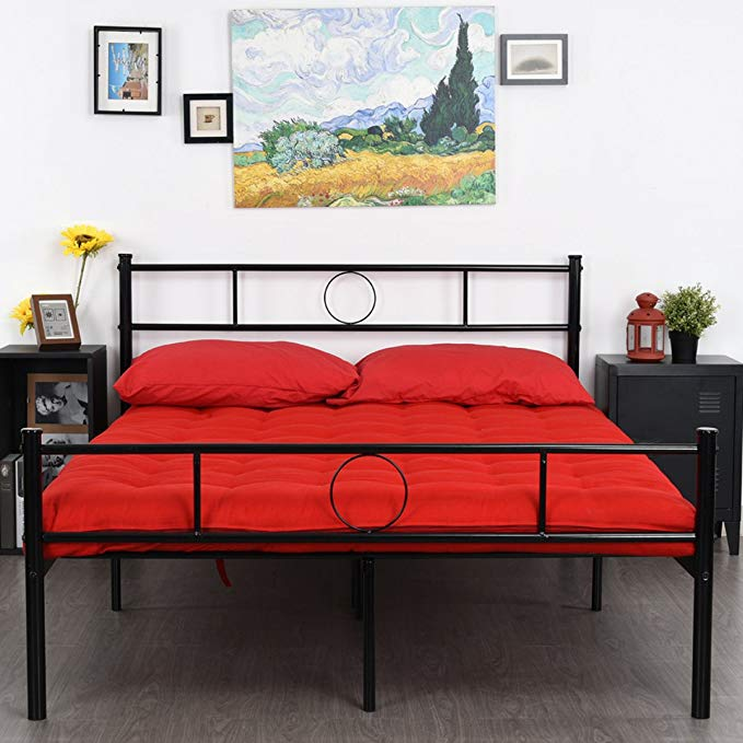 Amazon Com Greenforest Full Size Bed Frame Platform With Headboard And Stable Metal Slats Mattress Base Boxspring