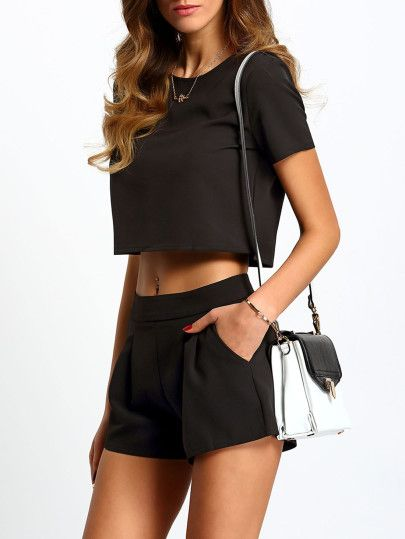 cd00366c93b Black Short Sleeve Top With Shorts Suits | Clothes | Black short ...