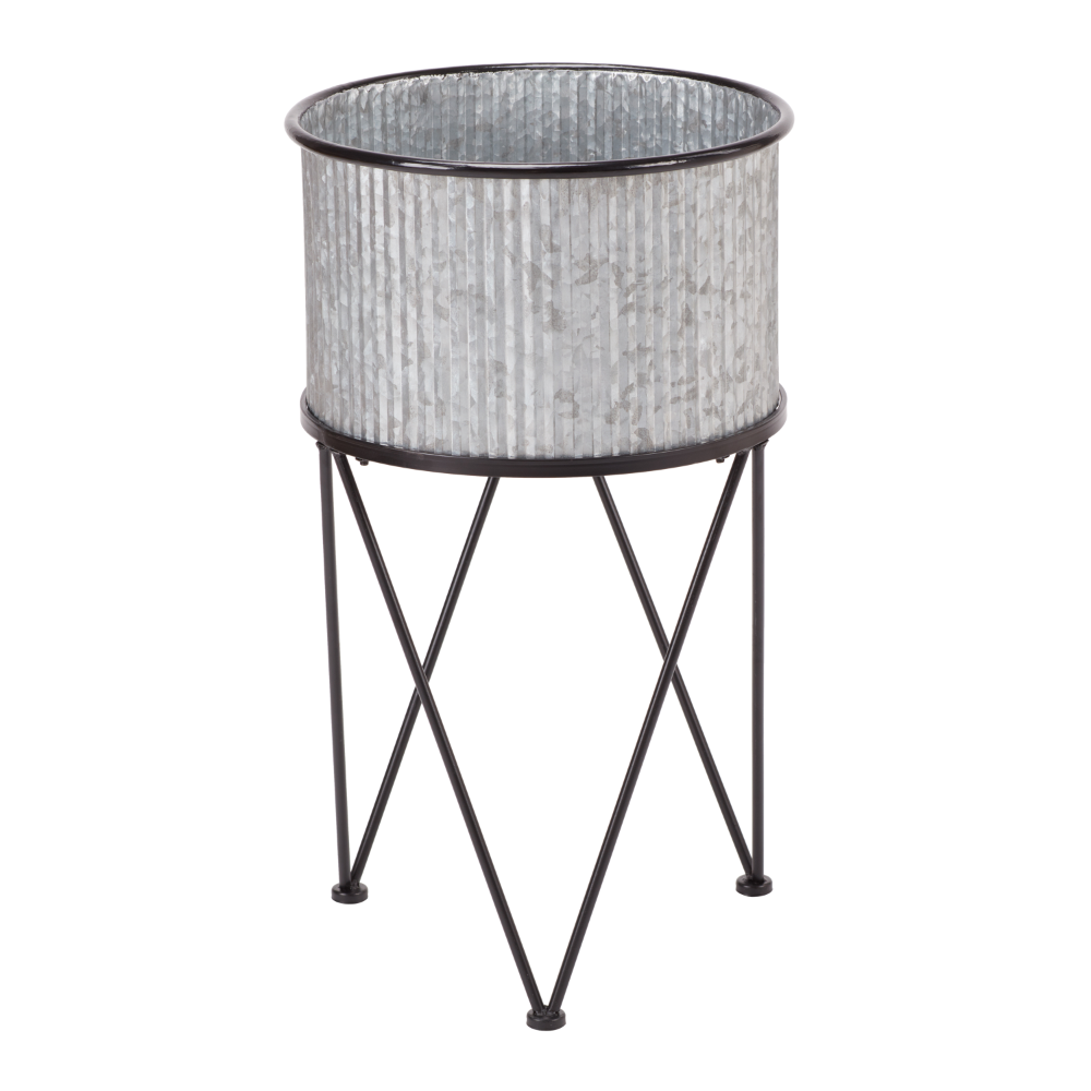 Rolling Metal Bucket Planter With Stand In 2020 Metal Bucket Planters Bucket Planters Metal Bucket