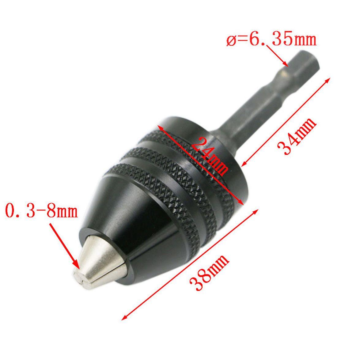 1pc 0 3 8mm Black Keyless Drill Chuck Screwdriver Impact Driver Adaptor 1 4 6 35mm Hex Shank Drill Bits Diameter Power Too Drill Bits Drill Chucks Screwdriver