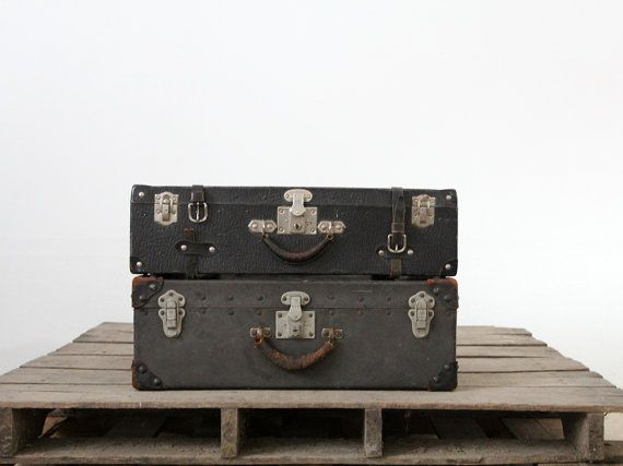 Vintage Black Luggage, 1930s Hardboard Suitcase | Shades of grey ...