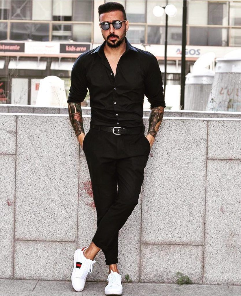 All Black Outfits 50 Black On Black Ideas For Men With Images Black Outfit Men Black Dress Shirt Men Men Fashion Casual Outfits [ 1024 x 834 Pixel ]