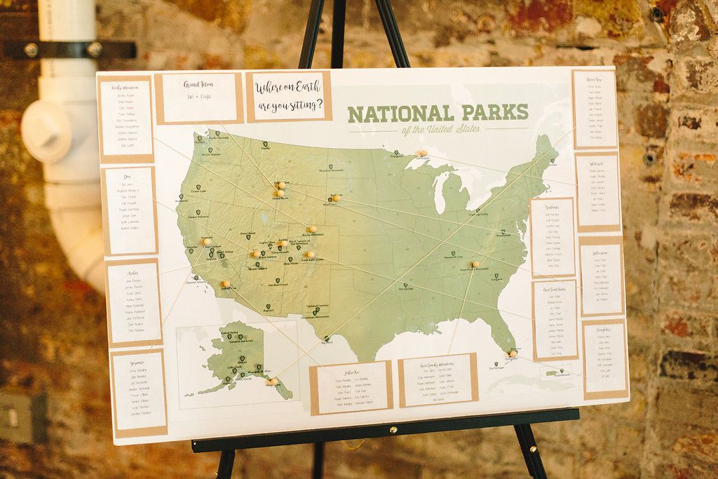 Photo By Brooke Townsend Photography National Park Themed Wedding Seating Chart Map Seating Chart Travel Theme Wedding Brewery Wedding Seating Chart Wedding