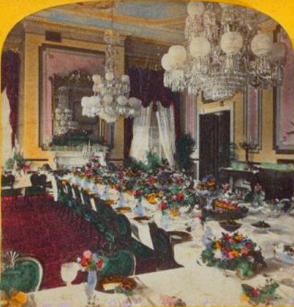 1902 White House Dining Room With Yellow Walls