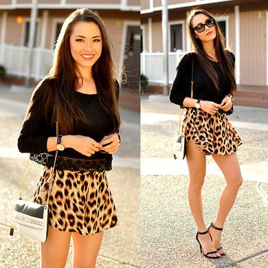 Saboskirt Leopard Shorts, Alloy Apparel Black Crop Top, Ann Taylor Bag, Daily Look Black Heels