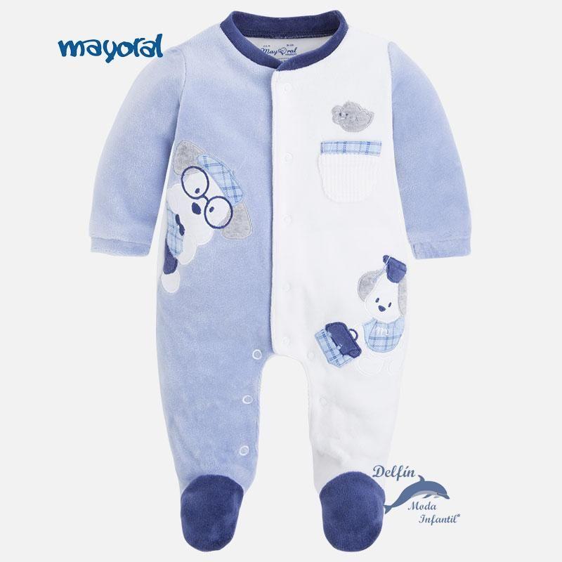 Pijama De Bebe Para Nino Mayoral Newborn De Terciopelo Bordado