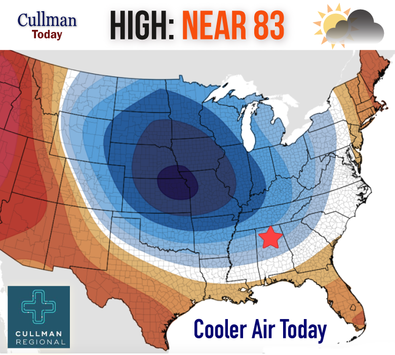 Cullman County Weather Monday July 23 2018 Noticeably Cooler 50