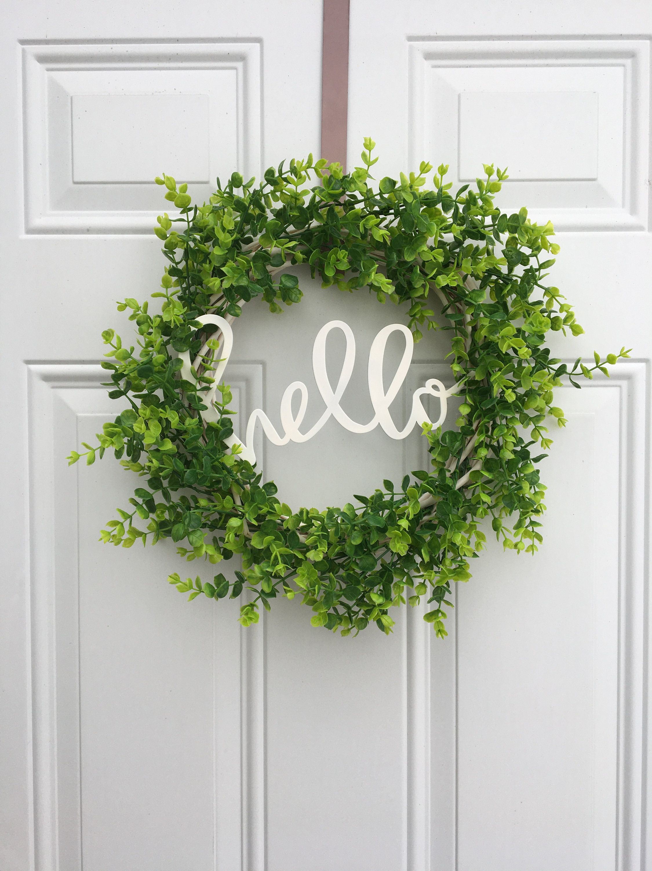 Photo of Farmhouse wreath, rustic wreath, hello wreath, eucalyptus wreath, farmhouse decor, rustic hello wreath
