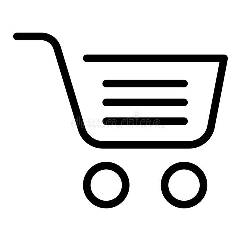 Full shopping cart line icon market basket vector