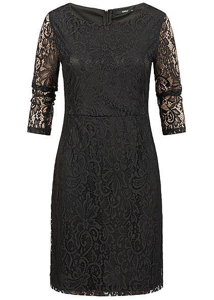 ONLY Damen Mini Kleid 2-lagig Spitze schwarz - Art.-Nr