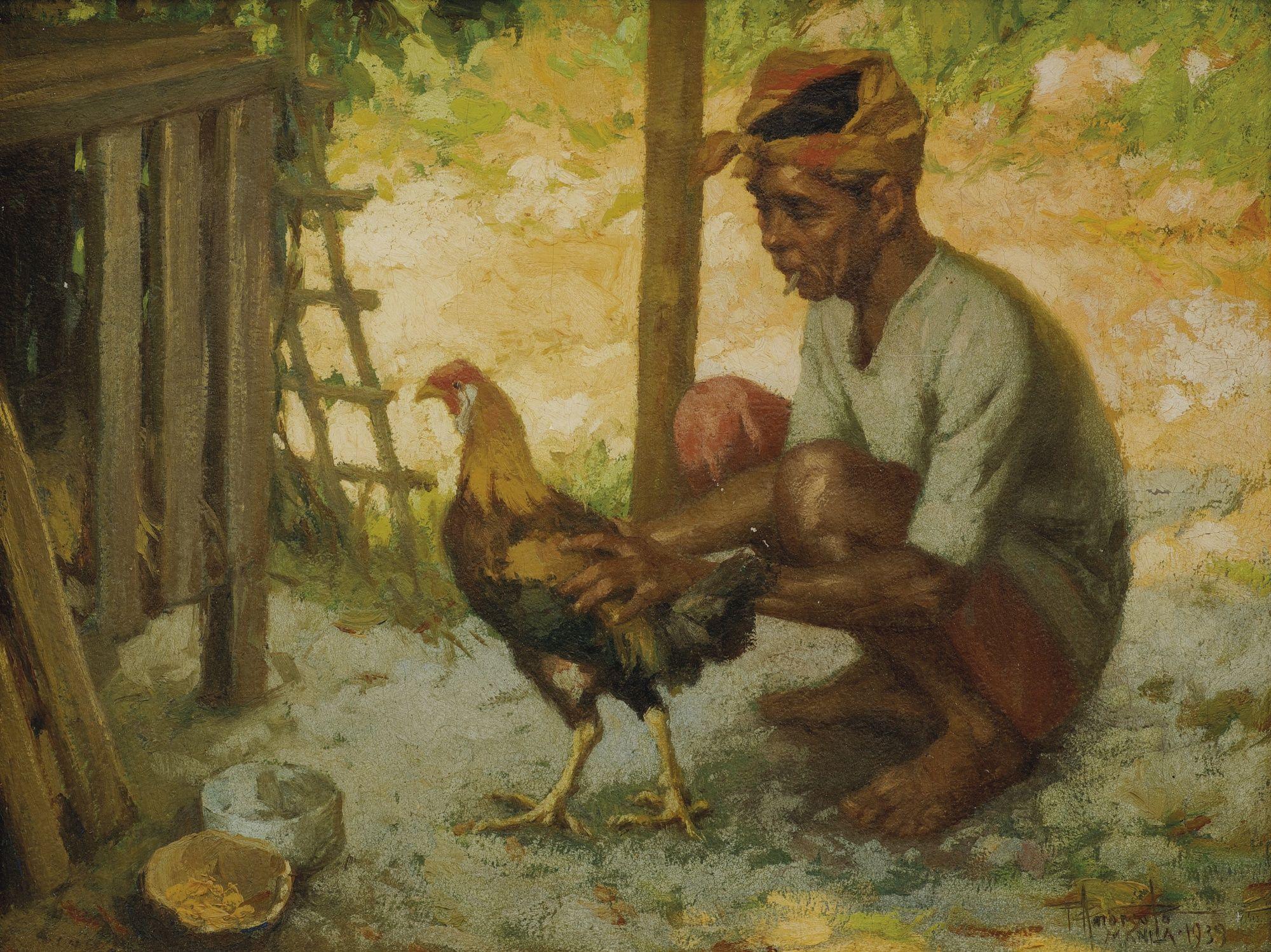 Fernando Amorsolo Man with Cockerel 1939 Filipino art