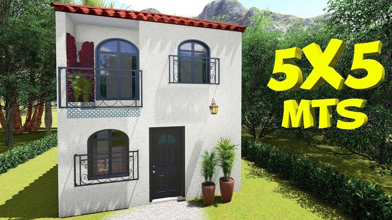 Plano De Casa 5x5m 2 Pisos Casas Prefabricadas Economicas Casas Pequenas Prefabricadas Fachadas De Casas Chicas