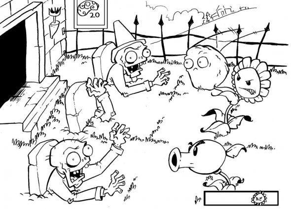 Dibujos para pintar personajes plantas vs zombies - Imagui