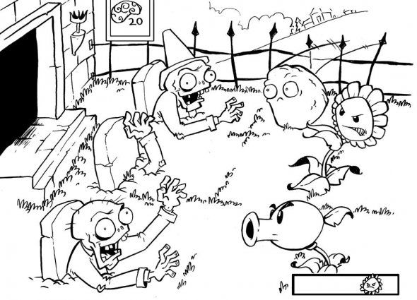 Imagenes paracolorear e imprimir plantas contra zombies - Imagui