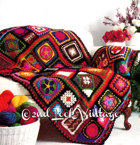 Vintage Crochet Muster der 1970er Jahre Oma Square afghanischen ...
