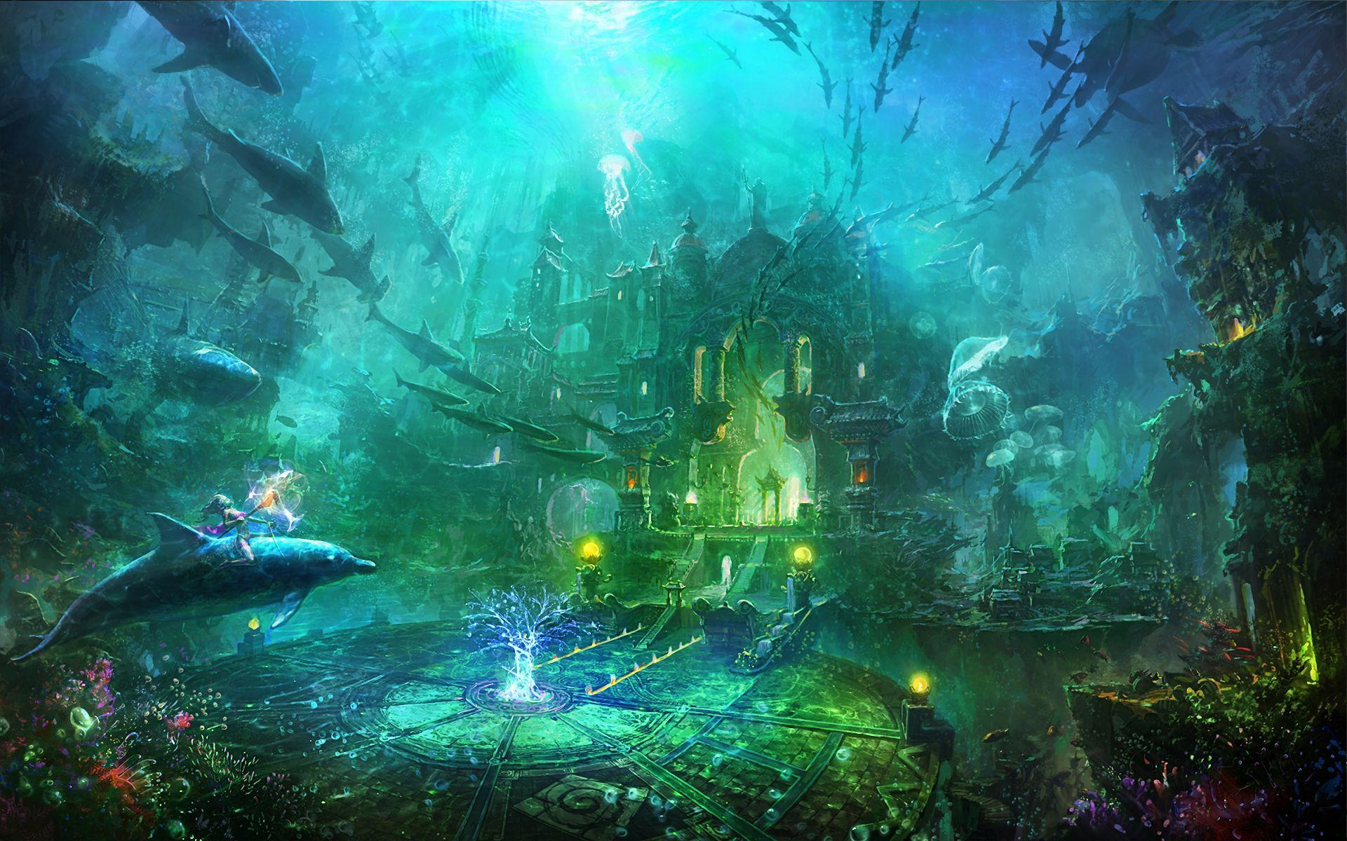 Atalanta Lost Fantasy Art Landscapes Underwater City Underwater World