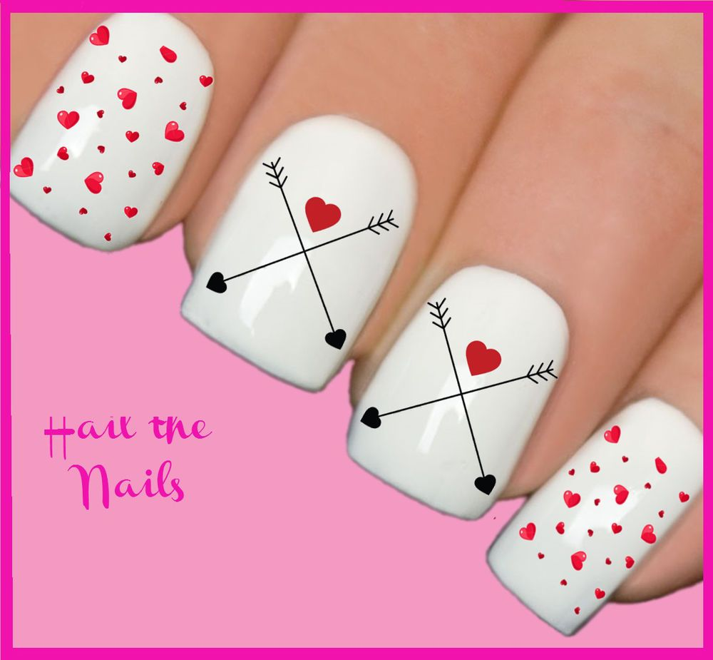 Nails Nail Art Water Transfers Decals Wraps Arrow Love Heart Y126 ...