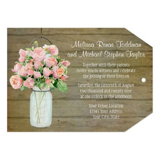 Rustic Country Mason Jar Blush Pink Roses Bouquet Invite