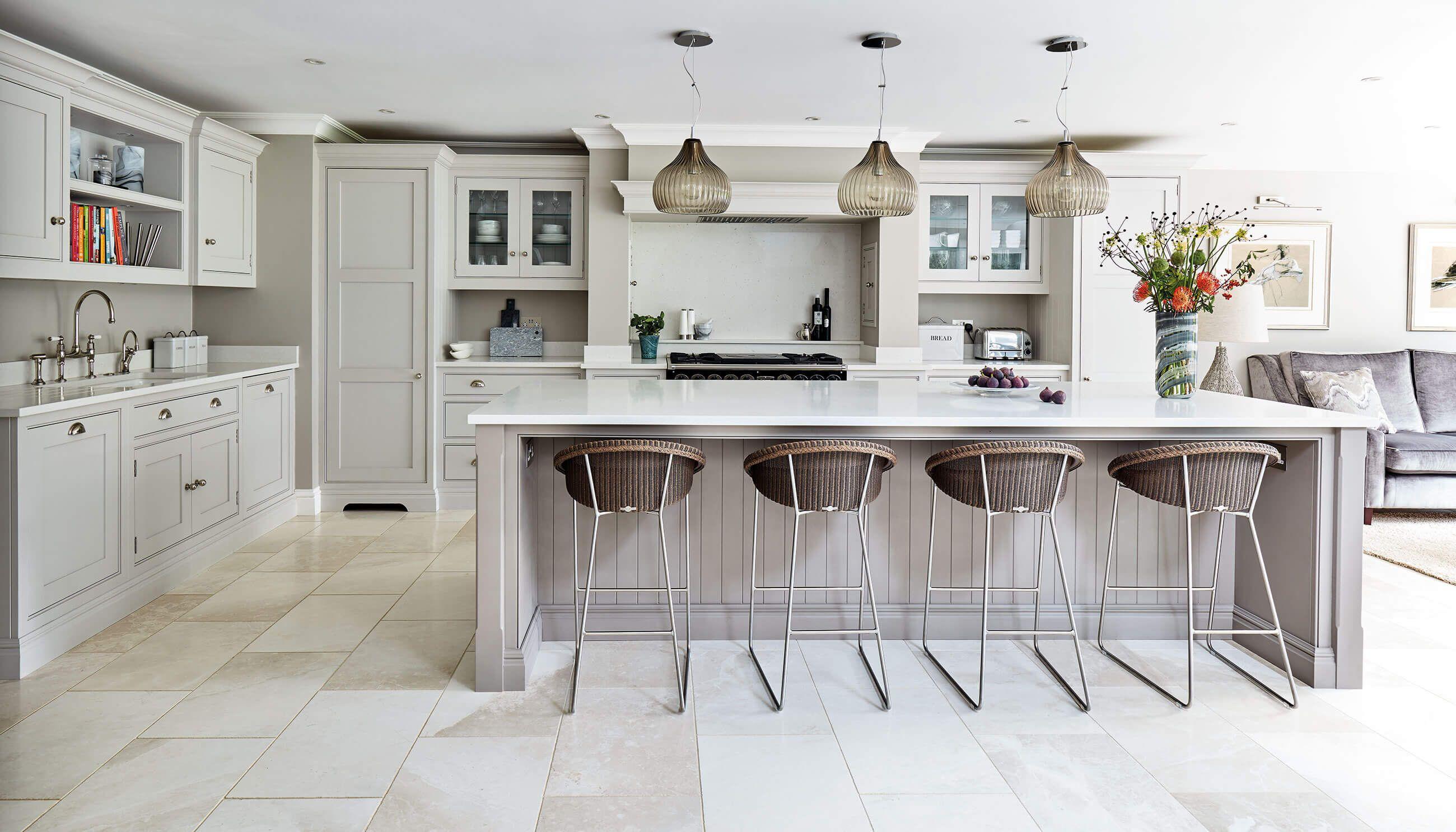 Open Plan Grey Kitchen in 2020 Kitchen island decor