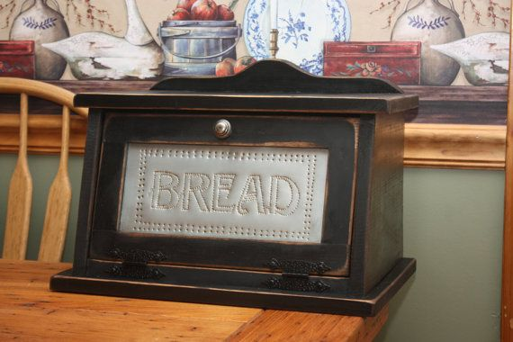 Awesome Bread Box Shabby Chic Punched Tin Wood Kitchen By RedBudPrimitives, $84.95