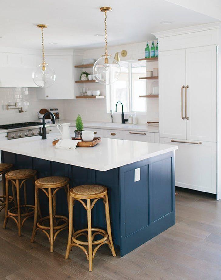 navy blue kitchens are gorgeous and trending purewow diykitchenmakeover kitchen on kitchen decor navy id=74482