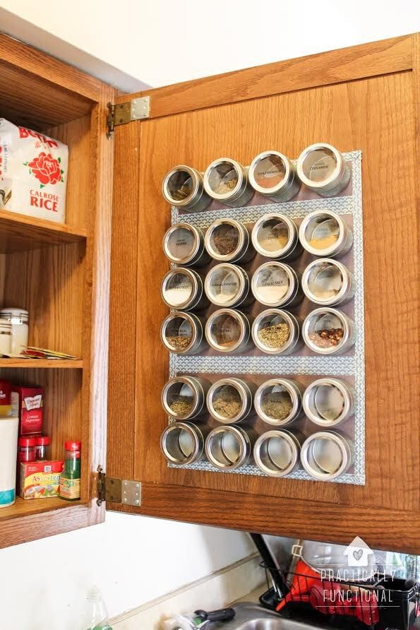 Optimize your spice organization with an in-cupboard magnetic spice