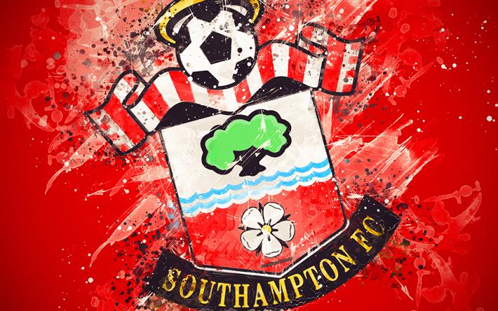 Download Wallpapers Southampton FC, 4k, Paint Art, Logo