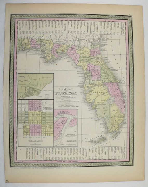 1855 Antique Florida Map Original Vintage Old State County Handcolored Mitchell Cowperthwait DeSilver Sunshine Gulf Coast