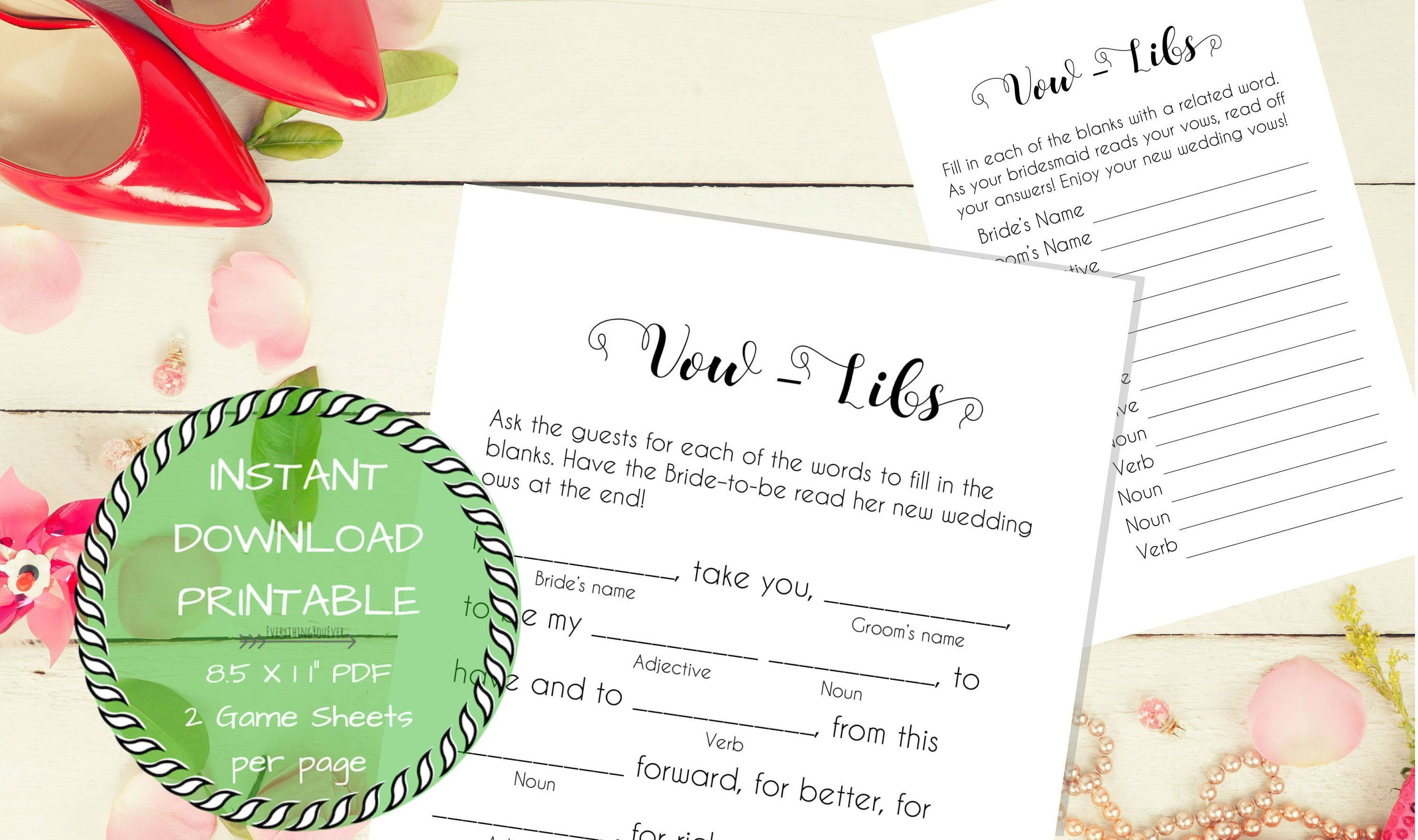 Printable Vow Mad Libs For Bride Amp Groom To Be Bridal
