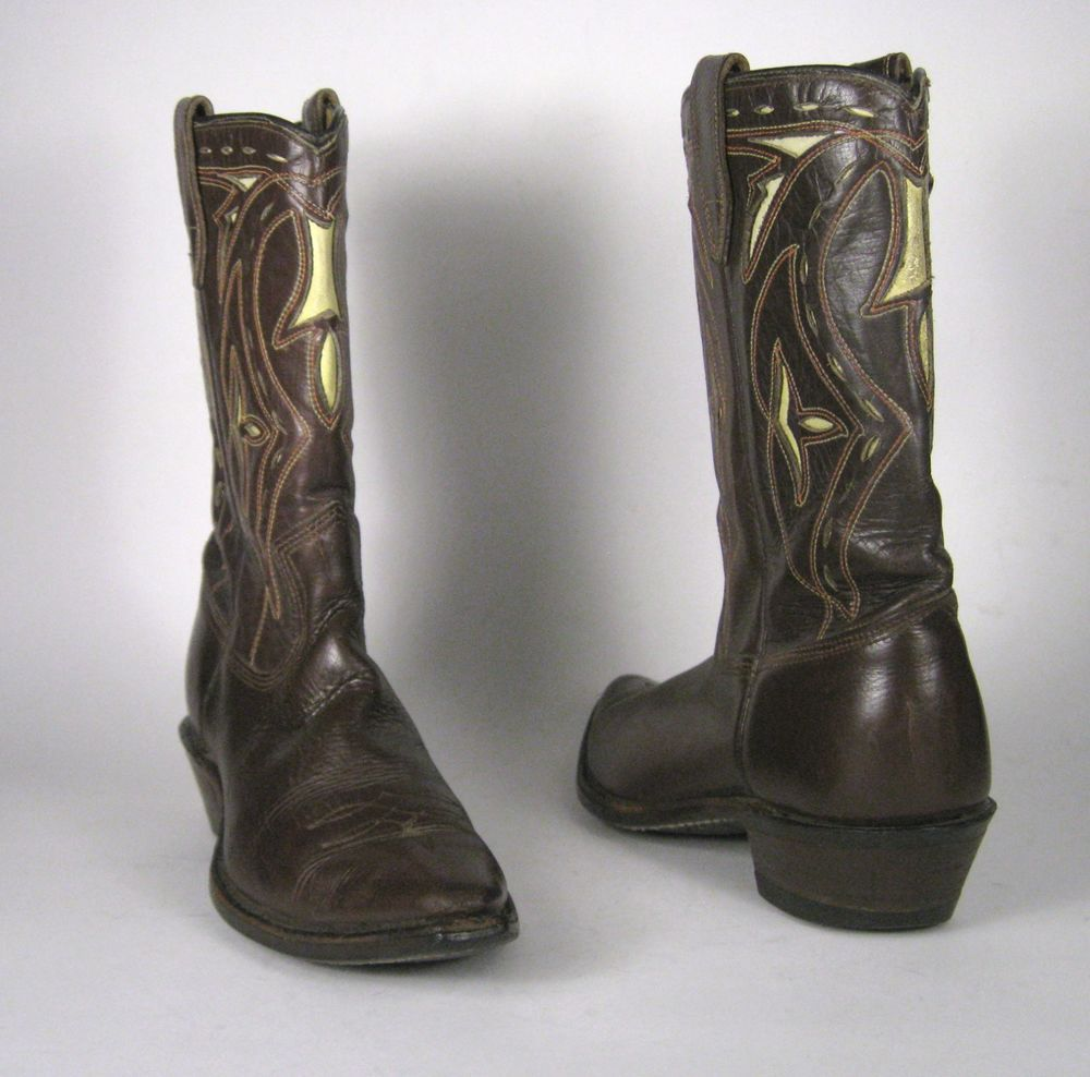 143a0121505 Acme Boots Size 4.5 or 5 US Cowboy Western Brown Inlay Leather Inlaid  Rockabilly #acme #CowboyBoots #Casual