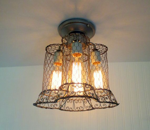 Union. Original CHICKEN WIRE Vintage Inspired Ceiling by LampGoods, $170.00