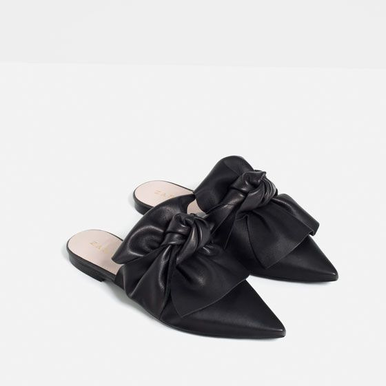 LEATHER SLIDES WITH BOW - Shoes & Bags-STARTING FROM 60% OFF-WOMAN-SALE