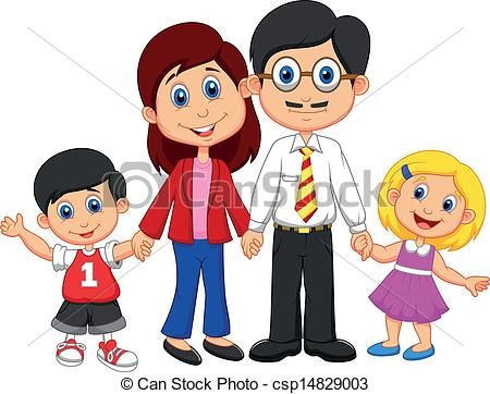 Happy Family Cartoon Vector Illustration Of Happy Family With