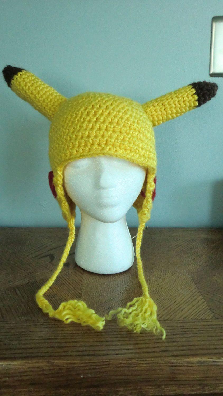 Yellow Crochet Pokemon Pikachu Hat | Gorros en crochet | Pinterest ...