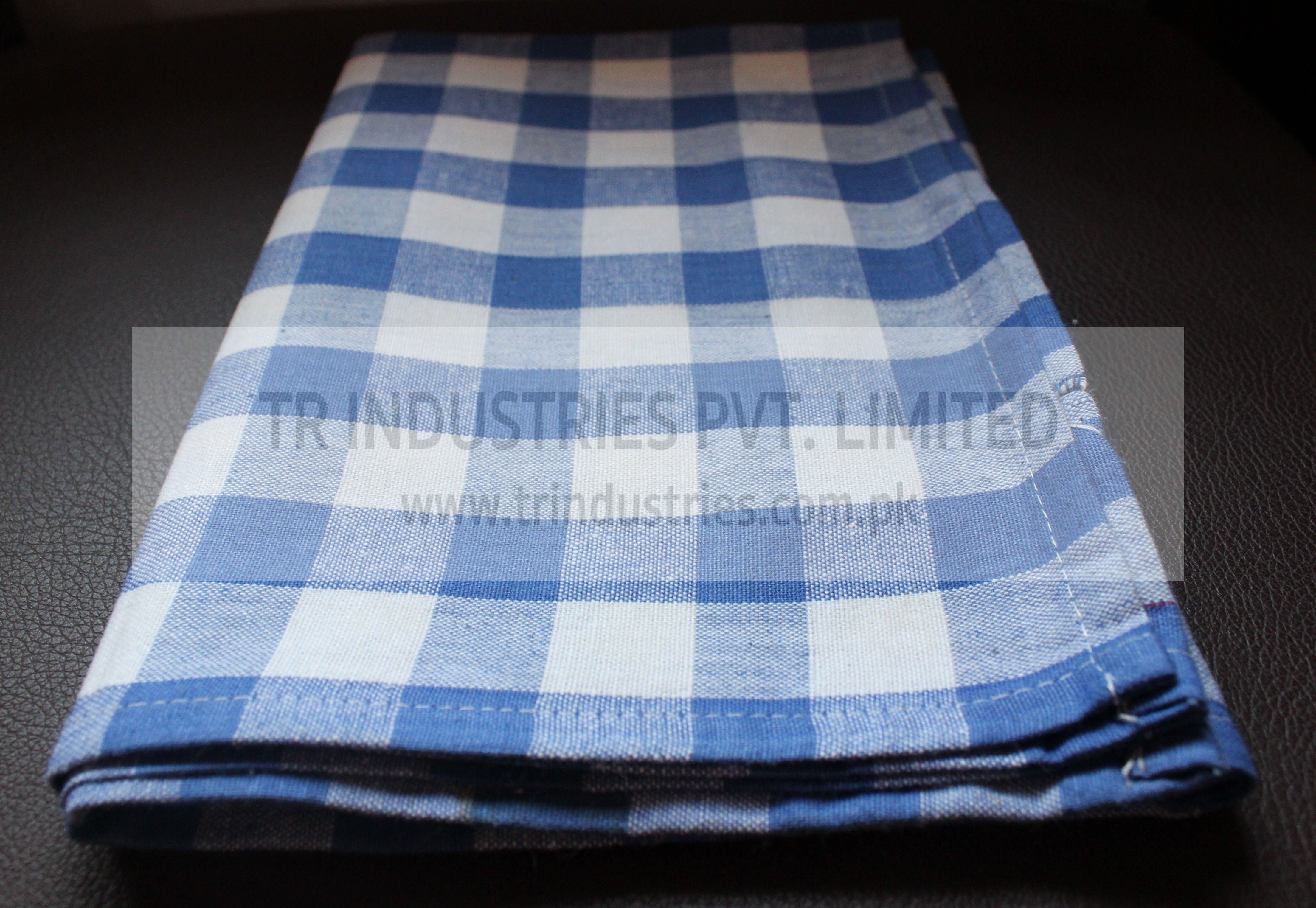 100 Cotton Yarn Dyed Kitchen Towel Medium Check Blue White
