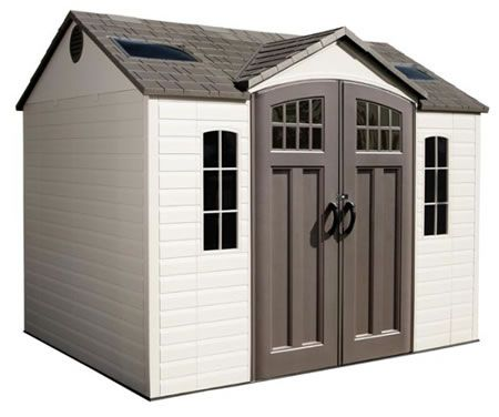 Lifetime 10x8 Side Entry Plastic Storage Shed With Floor 60178 Outdoor Storage Sheds Plastic Storage Sheds Storage Shed