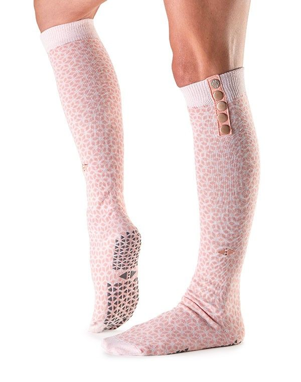Tavi Noir Fashion Knee High Grip Socks with brass button detailing for Barre, Pilates, and Yoga $28.00