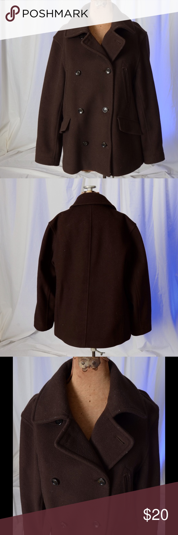 Brown double breasted coat Brown double breasted wool coat.  Coat has four pockets in the front..  Coat is in excellent condition. J. Crew Jackets & Coats Pea Coats