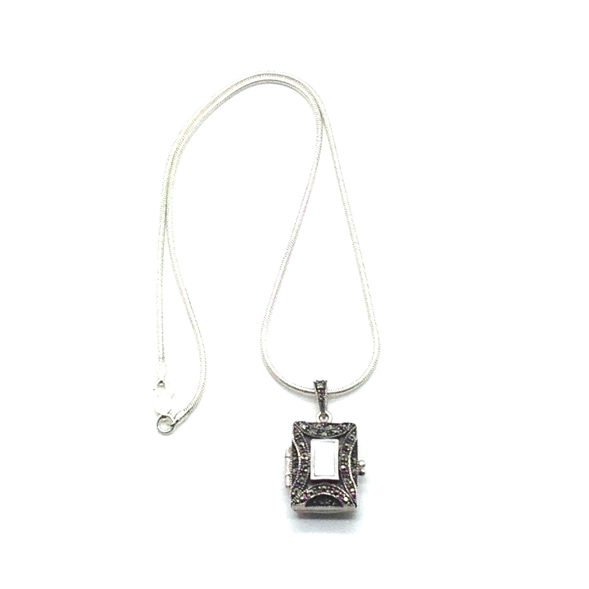 """Mom's Favorite is a 16"""" Sterling Silver Snake Chain with Sterling Silver Marquisette Art DecoLocket with Mother of Pearl. Product #5007"""