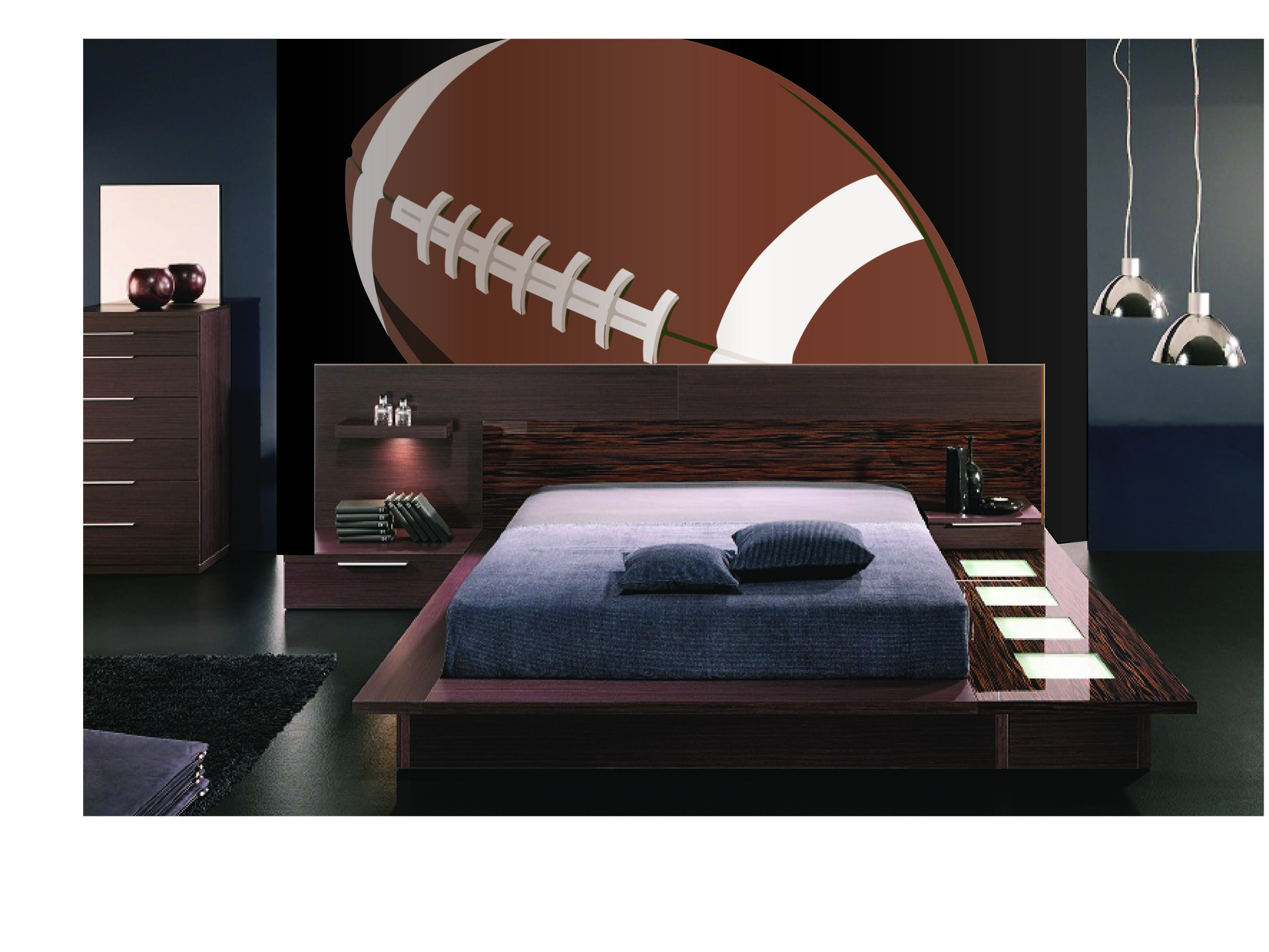 Mega football paintbynumber wall mural room wall murals and