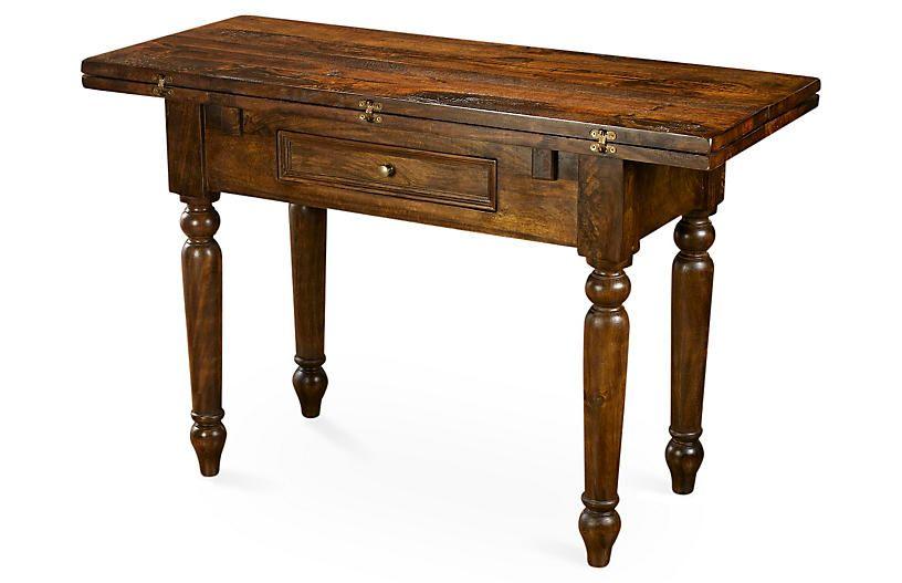 Rae Folding Table, Dark Pecan   Console table living room ...