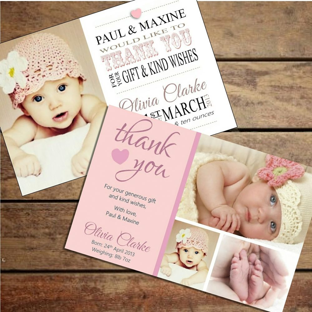 Personalised Baby Girl Thank You Card Packs Of Ten Our Baby
